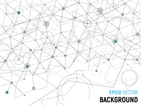 Abstract background. Vector gray lines and dots on white surface with some cyan circles. Points with connections - space map. Wireframe rocket in the corner. Futuristic science illustration. Reklamní fotografie - 114947679