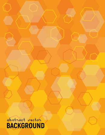 Abstract background. Irregular structure. Painted and outlined hexagons -yellow and orange. Vector futuristic science illustration.