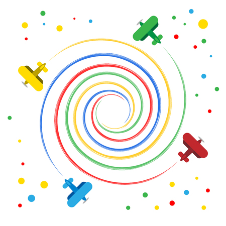 Colorful toy planes flying spiral. Four cartoon biplanes rotating around the center. On white background.