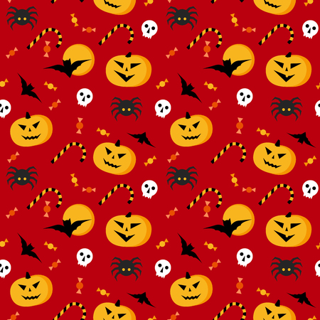 Seamless halloween vector pattern. Red texture with traditional horror elements: pumpkins, bats, sculls, spiders and candies. Simple geometric style clip art.