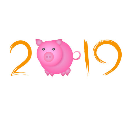 Chinese New Year concept - digits 2019 with pig instead of zero. Reklamní fotografie - 115525533