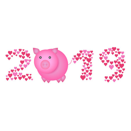 Chinese New Year 2019 concept - digits created from heart signs with cartoon pig instead of zero. Reklamní fotografie - 115525534