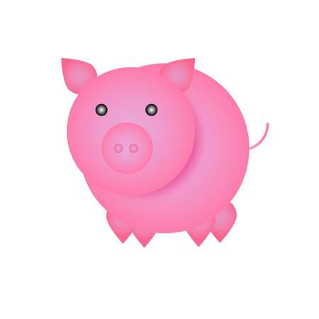 Simple funny cartoon pig - symbol of Chinese New Year 2019.