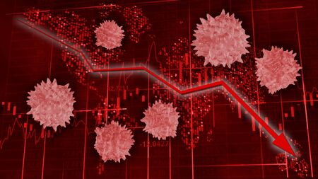 Coronavirus and markets. Red hi-tech background - stock diagrams with falling arrow among viruses.