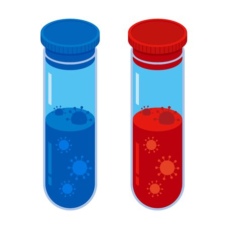 Coronavirus concept. Two glass vials with red and blue fluid and viruses in it. Isolated on white background. Chemistry or medical vector objects.