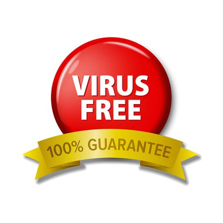 Round red button and golden ribbon with words 'Virus Free - 100% Guarantee'. Bright label for web developers.