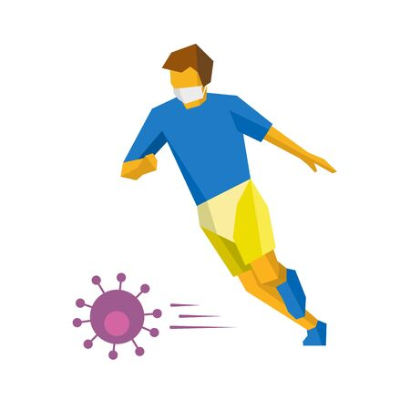 Coronavirus concept - competition cancellation. Running football player in medicine mask hit virus like a ball. Athlete isolated on white background with shadows. Man with a ball playing soccer - flat