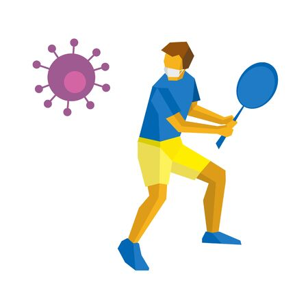 Coronavirus concept - competition cancellation. Big Tennis. Player in medicine mask hit virus with racket. Athlete isolated on white background with shadows.  Flat style vector clip art. Ilustração