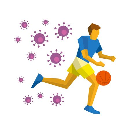 Coronavirus concept - competition cancellation. Running basketball player isolated on white background with shadows. Lot of viruses follow him. Athlete dribble the ball - flat style vector clip art.