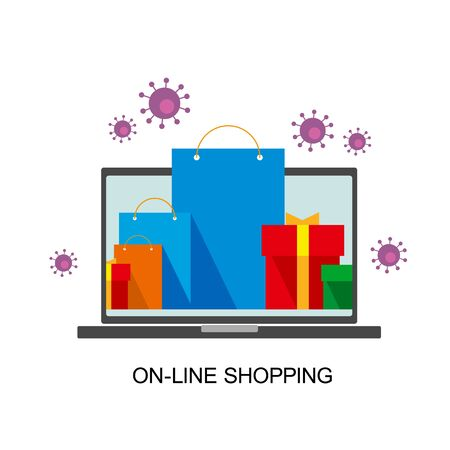 Bright flat shopping bags and boxes on laptop screen and around. Viruses flying behind. Online shopping and coronavirus. Group of red, green and blue paper pockets. Isolated on white background.
