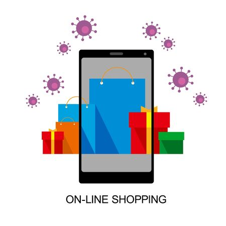Bright flat shopping bags and boxes on smartphone screen and around. Viruses flying behind. Online shopping and coronavirus. Group of red, green and blue paper pockets. Isolated on white background.