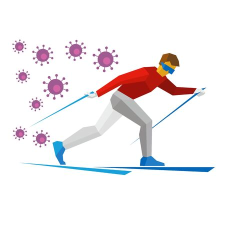 Cartoon skier running, lot of viruses are chasing him. Athlete runs on skis. Winter sports - Skiing. Flat style vector clip art isolated on white background.