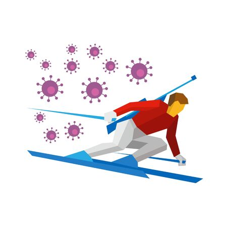 Coronavirus concept. Cartoon biathlon - sportsman going skiing fast with a rifle behind his back. Lot of viruses follow him. Flat style vector clip art isolated on white background
