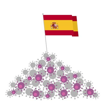 Coronavirus concept. Heap of viruses and Spain flag at the top. Victory over the disease. Vector clip art isolated on white background.