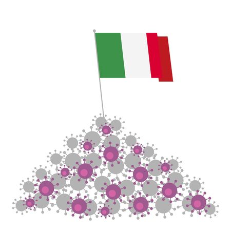 Coronavirus concept. Heap of viruses and Italy flag at the top. Victory over the disease. Vector clip art isolated on white background.