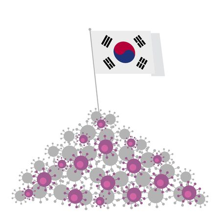 Coronavirus concept. Heap of viruses and South Korea flag at the top. Victory over the disease. Vector clip art isolated on white background. Ilustração
