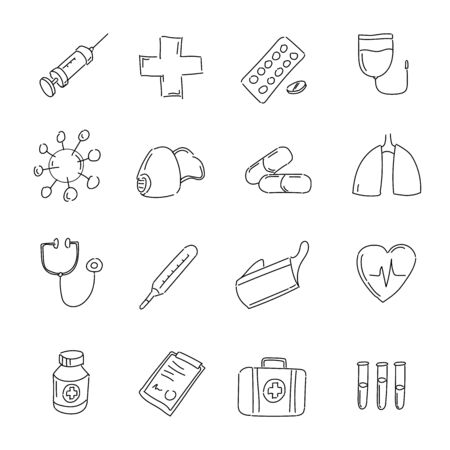 Medical icons set. Black hand drawn signs - medicine, health and pharmacy.
