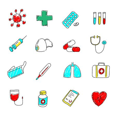 Medical icons set. Colored hand drawn signs - medicine, health and pharmacy.