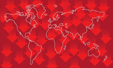 Global financial crisis - vector background. World map and lot of arrows to down Ilustração