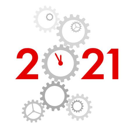 New Year 2021 concept - digits with mechanism Ilustração