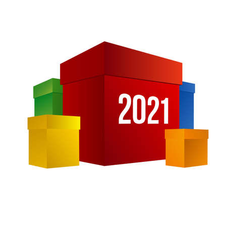 New year shopping. Colorful present boxes with numbers 2021.
