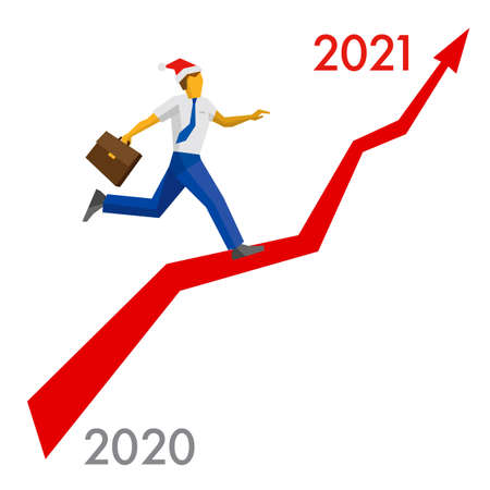 Businessman in Santa hat with gift bag running grow up graph to 2021 point