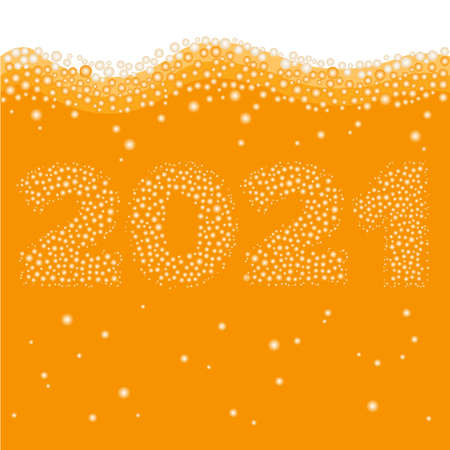 Happy New Year 2021 concept. Number created of bubbles inside orange liquid Ilustração