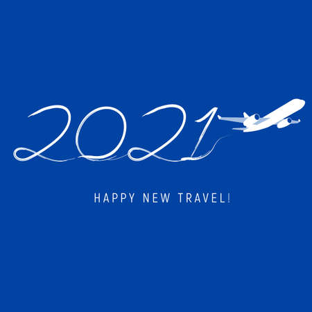 New Year 2021 concept - airplane left a trace in the form of numbers Ilustração