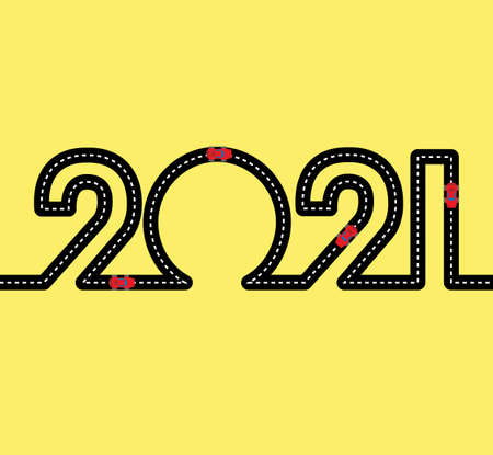 Happy New Year Concept - road in the shape of figures 2021. Ilustração
