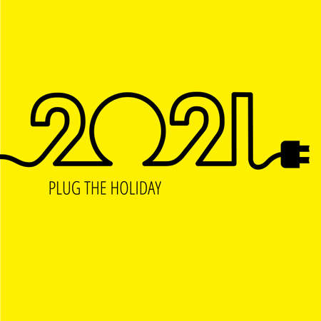 Electric cable in the form of numbers 2021 with plug at the end Ilustração