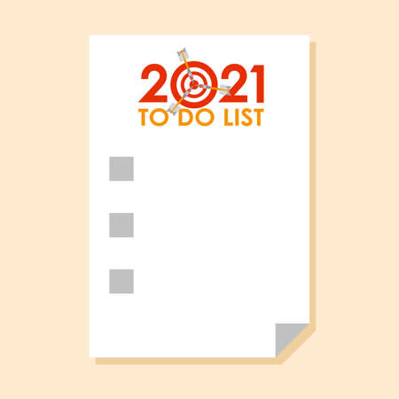 Sticker with To do list for 2021 year and check-boxes Ilustração