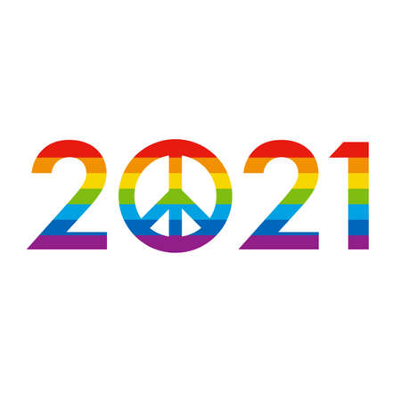 New Year 2021 concept - digits with pacifists, peace sign instead zero
