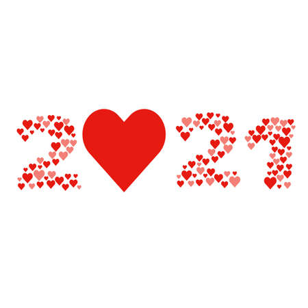 New year 2021 concept - digits created from red hearts Ilustração