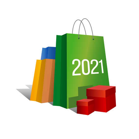 New year shopping. Set of colorful paper shopping bags with numbers 2021 and present boxes near.