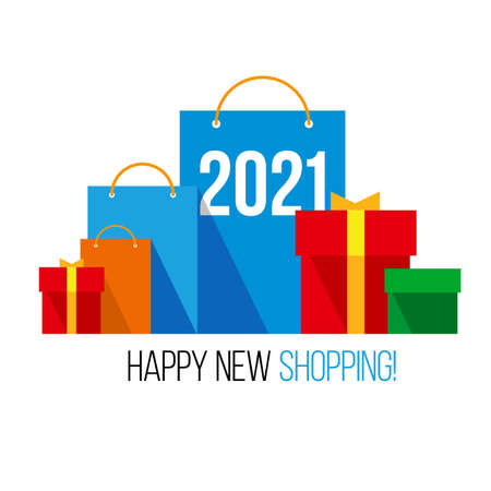 New year shopping. Set of colorful paper shopping bags with numbers 2021 and present boxes near