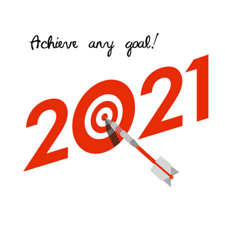 New Year 2021 business concept. Target with dart instead of zero Ilustração