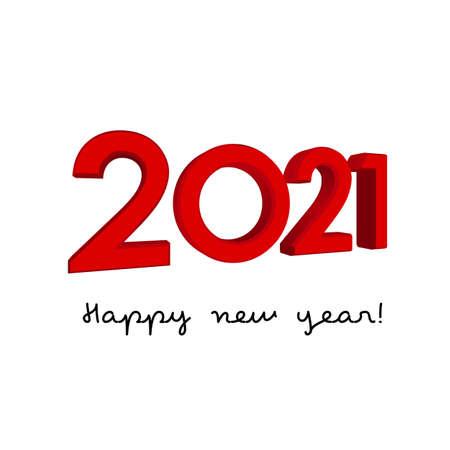 Vector 3D digits 2021 - new year concept Ilustração