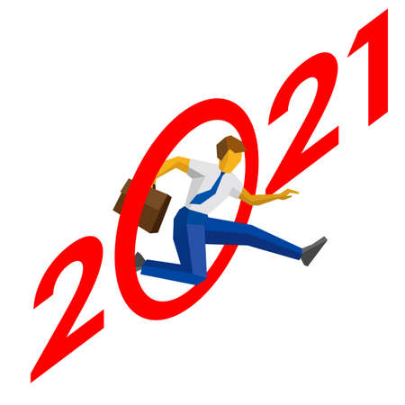Businessman jump throw zero in number 2021