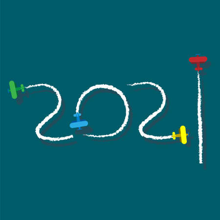 New Year 2021 illustration - planes left traces in the form of numbers