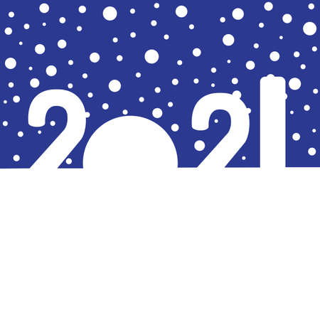 Happy New Year concept - snowdrifts in the shapes of digits 2021 Ilustração