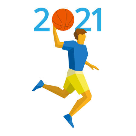 New Year 2021 concept - digits with basketball instead zero