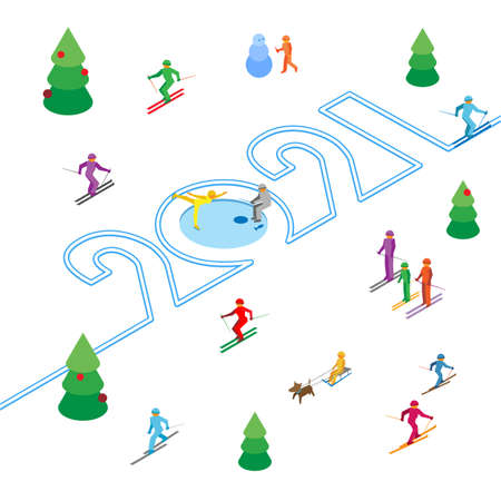 New Year 2021 concept - skier left a trace in the form of numbers