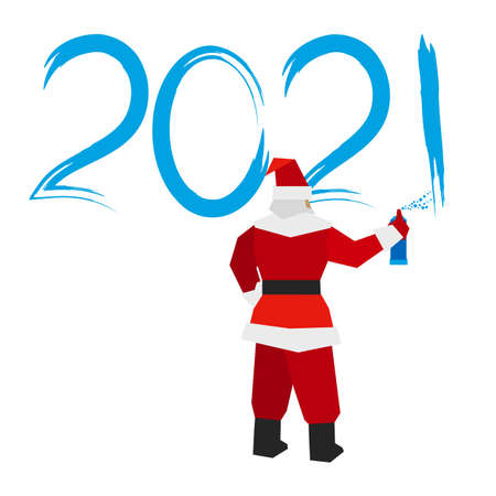 Santa Claus with sprayer writes number 2021. Painter draw a holiday graffiti.