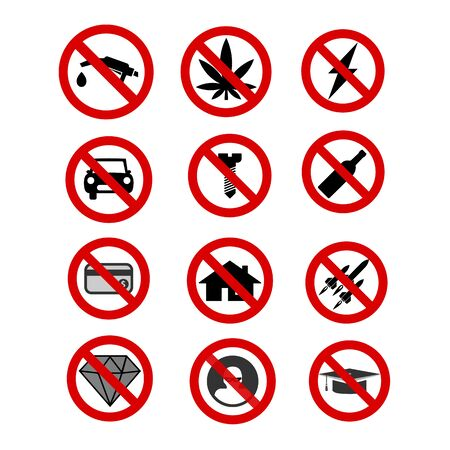 Set of forbidden icons.