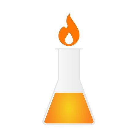 Flask and fire hazardous icon.