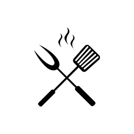 crossed kitchen spatula big fork icon.  イラスト・ベクター素材