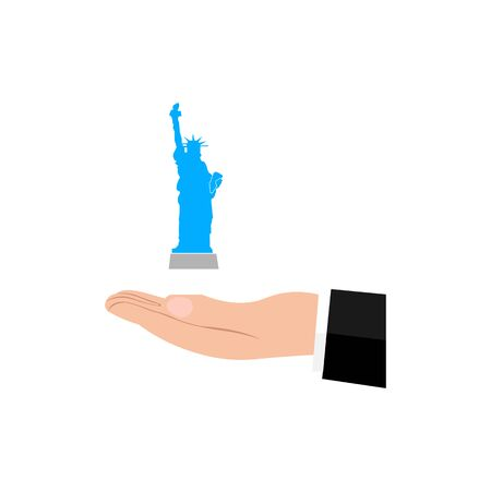 Icon of hand and small statue of liberty.