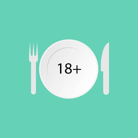 Icon of plate, knife, fork, eighteen plus sign. Illustration