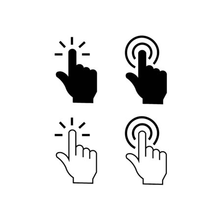 Set of icons of finger clicking on the screen.