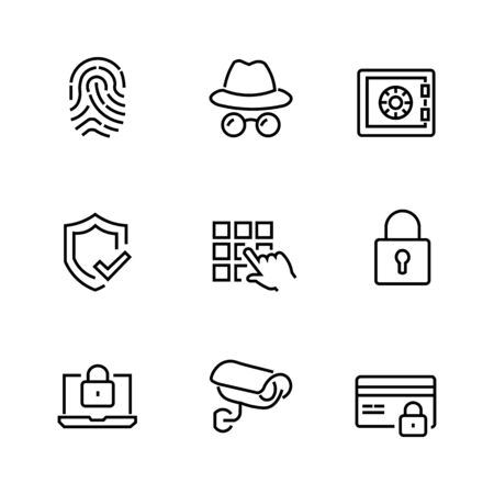 Set of icons about protection, video surveillance.